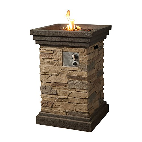 Peaktop Slate Rock Square Column Gas Propane Fire Pit with Cover (Outdoor Fire Column)