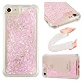 """Liquid Case for iPhone 8 4.7"""",Floating Case for iPhone 7 4.7"""",Leecase Luxury Beauty Bling Shiny Sparkle Glitter Cover Pink Pentagram Quicksand Flowing Creative Design Crystal Transparent Clear Plastic Soft TPU Protective Shock Proof Shell Case Cover Bumper for iPhone 8 / 7 4.7"""" + 1 x Free Black Stylus"""