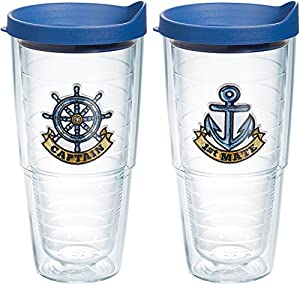 Tervis Captain First Mate Emblem Bottle, 24.-Ounce, Pack of 2, On The Water