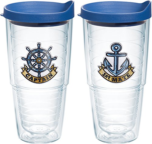 Bottle Mate 2 - Tervis Captain First Mate Emblem Bottle, 24.-Ounce, Pack of 2, On The Water