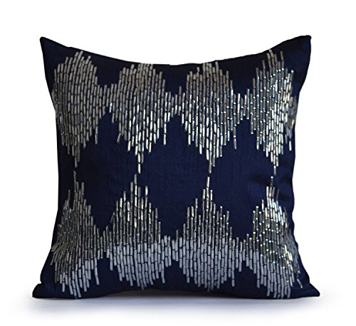 Amore Beaute Navy Blue Decorative Throw Pillow Cover with Metallic Silver Sequin Intricate Embroidery in Ikat Pattern -Handcrafted Wedding Anniversary Housewarming Gifts -Throw Pillow Case for Sofa