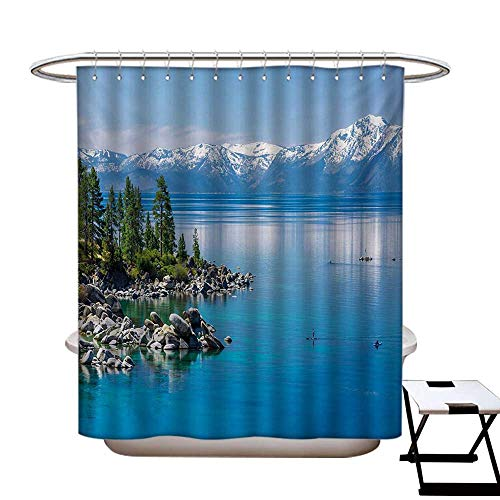 Anti Bacterial Shower Curtain Liner Blue Waters of Lake Tahoe Snowy Mountains Pine Trees Rocks Relax Shore Water Repellent & Stain Resistant Pale Blue Green Grey72×72