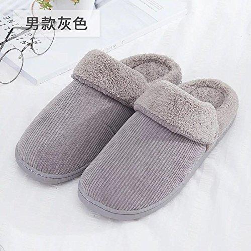 Fankou Autunno e Inverno colore solido cotone pantofole indoor anti-slittamento caldo di spessore pattini accoppiano ,39-40, grigio