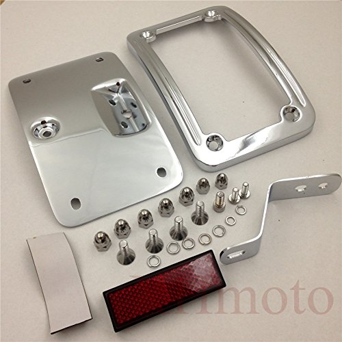HTT Motorcycle Chrome Laydown Curved License Plate Bracket Tag Holder w/ Mount Kit For Harley Davidson 2005-2007 Softail Springer Classic FLSTSC/ 2005-2017 Softail Deluxe FLSTN