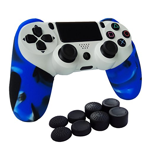 Silicone Rubber Skin Gel Case Cover for Playstation 4 PS4 Controller (Blue) - 6