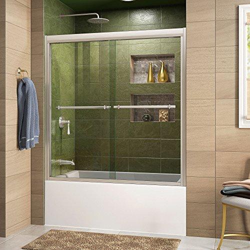 DreamLine Duet 55-59 in. W x 58 in. H Bypass Sliding Tub Door in Brushed Nickel, - Tub Doors Bath Glass