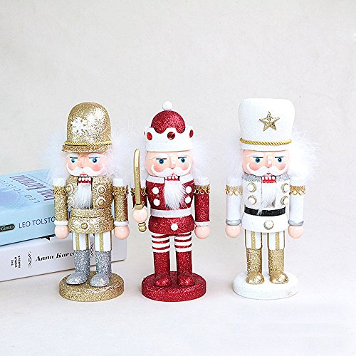 gelvs 25 cm Handmade Wood Nutcracker Xmas Evening Party Ceremony Decorative Figure 1 Set of 3 Style 1 Swordman 1 Soldier in Gold Outfit 1 with White Outfit by gelvs (Image #6)