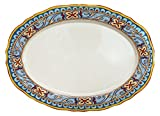 Euro Ceramica Duomo Collection Italian-Inspired 18'' Oval Ceramic Serving Platter, Floral Design, Multicolor