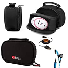 DURAGADGET Black Neoprene Lightweight Zip-Locked Carry Case Compatible with the AngelSounds Fetal Doppler Baby Heart Monitor - Includes Retractable Mini USB Cable and LED Blue Flashing Earphones