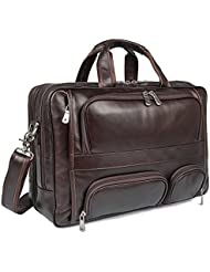 Polare Real Leather 17Laptop Carry On Overnight Bag Business Briefcase Large