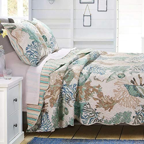 GH Beach Theme Ocean Coastal Quilt King/Cal King Bedding Set - Nautical Seashell Beach Tropical Decor - All Season 3 Pieces Bedspread/Coverlet with Shams Green - Includes Bed Sheet Straps