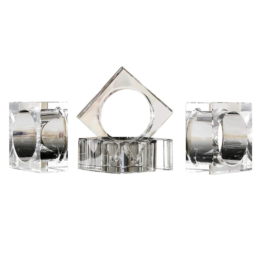 DONOUCLS Crystal Napkin Holder Rings Square Design Christmas Decorations for Dinner Clear 2'' Set of 4