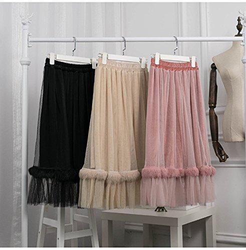 Jupe FOLOBE Velours Femmes Blush A Tulle Couture Jupe Lapin Fourrure Longue Faux Ligne AwqfZt1w