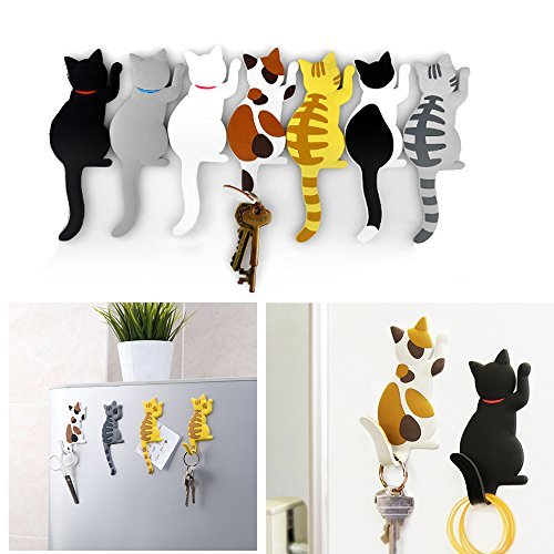 Comidox Cute Multifunction Cat Magnetic Refrigerator Sticker Fridge Magnet Hanging Hook 2 in 1 Gray cat /Black white cat / Yellow striped cat/Gray Yellow striped cat 4pcs