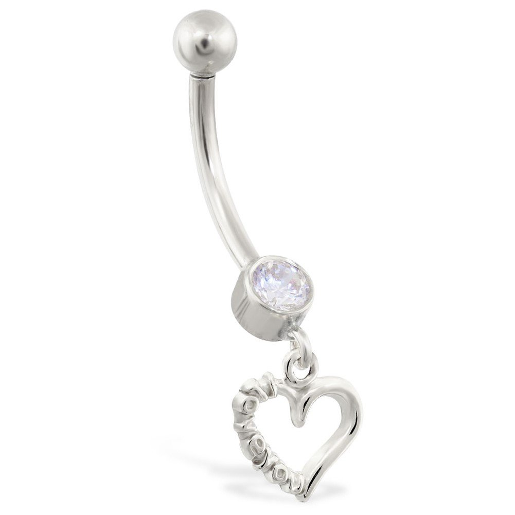 14K Gold Belly Ring With Dangling Heart Charm With ''I Love You'', 14K White Gold