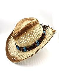 Women Men Raffia Hollow Western Cowboy Hat For Gentleman Western Cap Dad Sombrero Summer Sun Beach Fashion hats&caps (Color : 1, Size : 58cm)