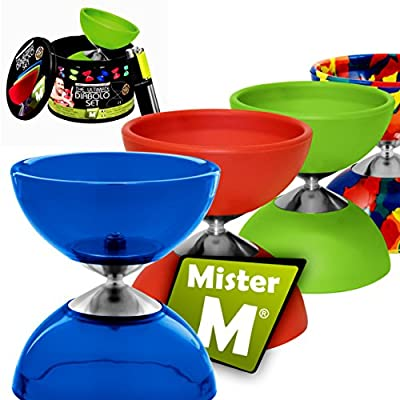 Diabolo + Aluminum Sticks + Free Online Video, All in a Tin Can - The Ulitmate Set (Clear Blue): Toys & Games