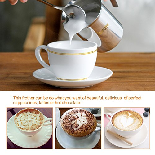 JoyFork Manual Milk Frother, Stainless Steel Hand Pump Milk Foamer, Handheld Milk Frothing Pitchers,Manual Operated Milk Foam Maker For Cappuccions and Coffee Latte 14-Ounce/400ml by JoyFork (Image #4)