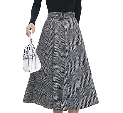 Cheap KLJR-Women Casual High Rise Plaid Fashion Mid-length A-line Skirt free shipping