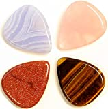 Unique & Custom [Medium Gauge- Traditional Style Semi Tip] Hard Luxury Guitar Pick Made of Genuine Agate w/ Elegant Natural Shimmering Exotic Sheen Bold Design ''Assorted Color'' {8 Picks Multipack}