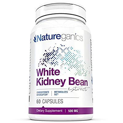 White Kidney Bean Extract By Natureganics 100% Pure Extract Optimized As a Carb Blocker to Help Prevent Fat From Forming - Guaranteed!