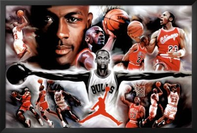 (Professionally Framed Michael Jordan Wings Collage Vintage Sports Poster Print - 24x36 with Solid Black Wood Frame by Buyartforless)