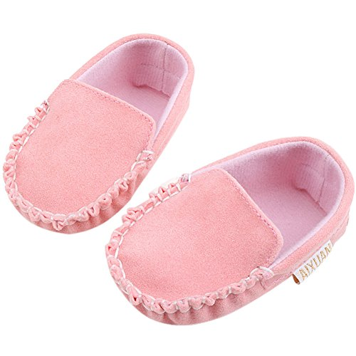 Fire Frog  Baby Boat Loafer Shoes, Baby Jungen Lauflernschuhe, rosa - rose - Größe: 12-18 Monate