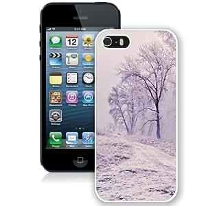 Fashionable Custom Designed iPhone 5S Phone Case With Winter Path Trees Landscape_White Phone Case