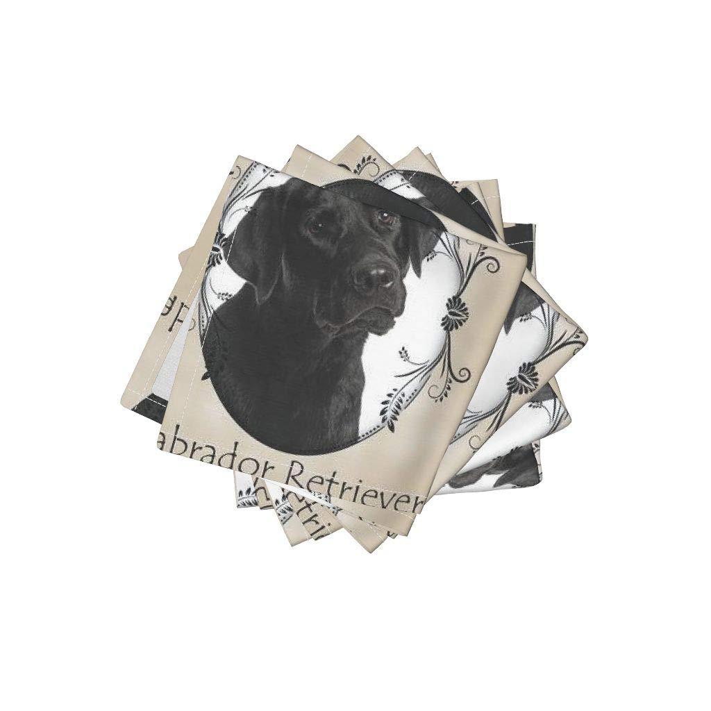 Black Linen Cotton Cloth Cocktail Napkins - Labrador Lab Retriever Dog Pet Animal by Pateisen (Set of 4) 10 x 10in