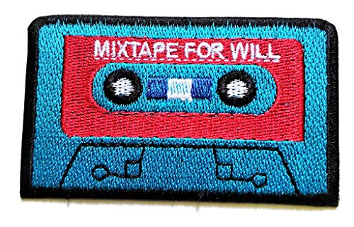 PP Patch Cute Blue Cassette Tape Music Boombox Retro 80s 90s Patches Iron On Cartoon Apparel for Clothes Kids Stickers DIY Cheap Embroidered Patches for Sewing Kids Clothing