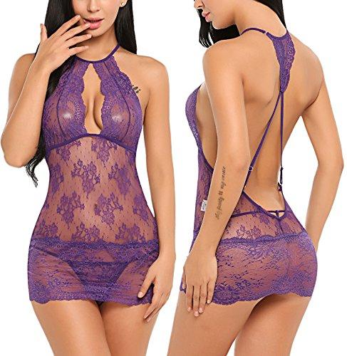 Avidlove Women Babydoll Lingerie Lace Chemise Halter Nightwear Teddy Dress (S, Purple) -