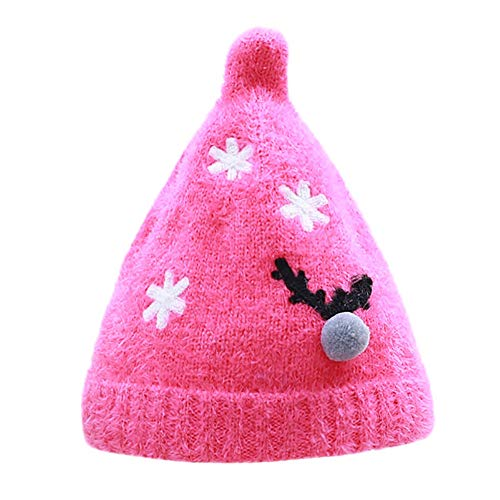 Yezijin Unisex Christmas Nipple Knit Autumn Winter Baby Hair Ball Wool Velveted Hat Cap (Hot Pink)