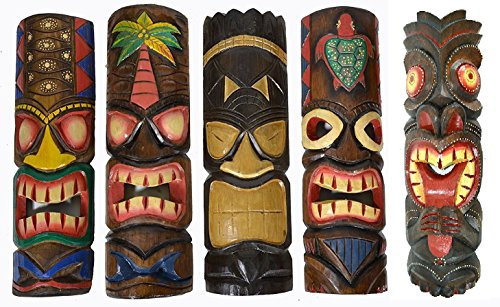 20-Large-Set-of-5-Polynesian-Hawaiian-Tiki-Style-Wall-Masks
