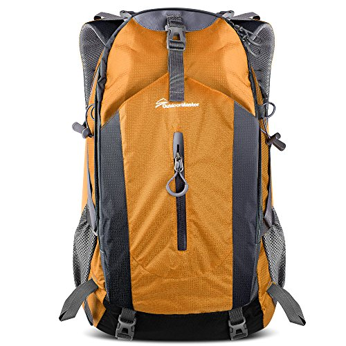 OutdoorMaster Hiking Backpack 50L - Hiking & Travel Backpack w/Waterproof Rain Cover & Laptop Compartment - for Hiking, Traveling & Camping - Orange