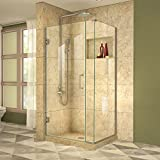 DreamLine Unidoor Plus 35 in. W x 34 3/8 in. D x 72 in. H Frameless Hinged Shower Enclosure, Clear Glass, Brushed Nickel, SHEN-24350340-04