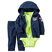 Carter's Baby Boys' 3-Piece Space Hunk Hoodie Set, Blue/Green, 3 Months
