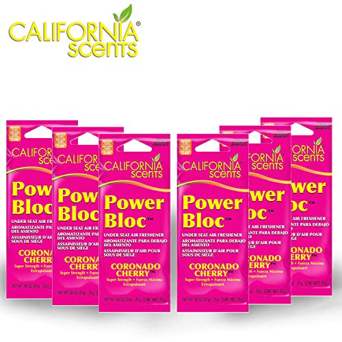 California Scents Power Bloc Car Air Freshener, Coronado Cherry Fresh & Bold Fragrance, 0.88 Ounce (Pack of 6)
