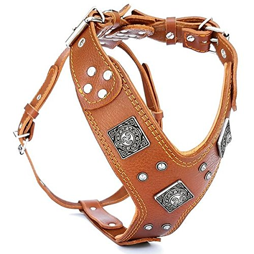 Bestia ''EROS'' genuine leather dog harness, Large breeds, cane corso, Rottweiler, Boxer, Presa, Bullmastiff, Dogo, Top Quality, 100% leather, studded, L- XXL size, soft padded. Made in Europe! by Bestia