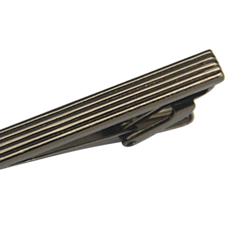 Fityle Striped Carved Practical Plain Metal Mens Necktie Tie Clip Bar Clasp