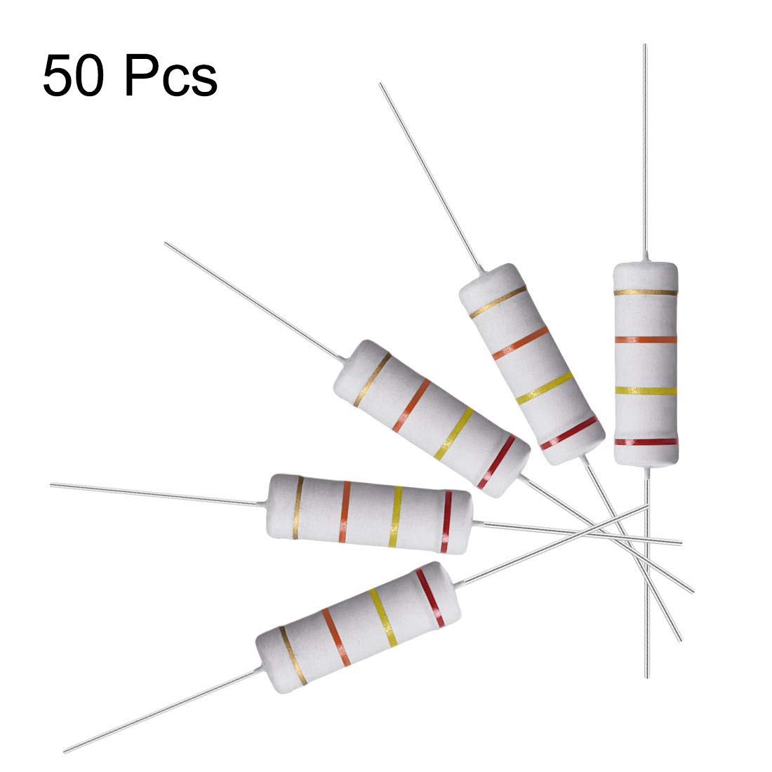Flame Proof 2K Ohm Resistance for DIY Electronic Projects and Experiments uxcell 10 Pcs Metal Oxide Film Resistor 5W Axial Lead 5/% Tolerance