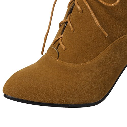 AIYOUMEI Stiletto High Heel Lace-up Ankle Boots Zip Pointed Toe Boots Ladies Shoes Yellow GHUSLl