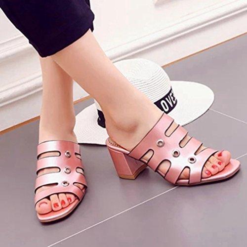 Rose Gladiateur Talon Diapositives Sandales Femmes Bloc Toe Mode Forme Open Sandales Robe Plate Paillettes Compensées Ux65qxA1