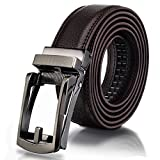 Ratchet Leather Belts, Yamissi Leather Belt for Men, with Automatic Buckle, Goft Belt, Dress Belt fits for Waist Size 28' to 40' (Brown)