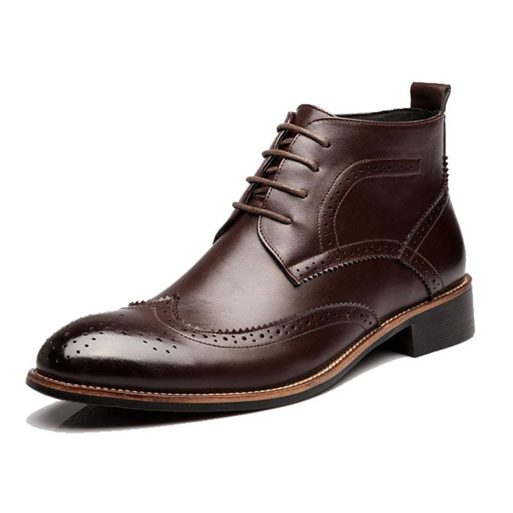 Oudan Herren Stiefel, Brogue Elevator Schuhe Atmungsaktive Oxfords Wingtip High Top Stiefeletten, 1   (2,5 cm) Taller Höhe zunehmende Einlegesohle (Farbe   Schwarz, Größe   39 EU)