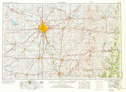 YellowMaps Wichita KS topo map, 1:250000 Scale, 1 X 2 Degree, Historical, 1955, Updated 1976, 22.21 x 30.44 in - Polypropylene