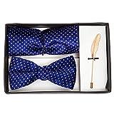 VIBHAVARI Men's Bow Tie, Pocket Square And Lapel Pin Set Free Size Blue