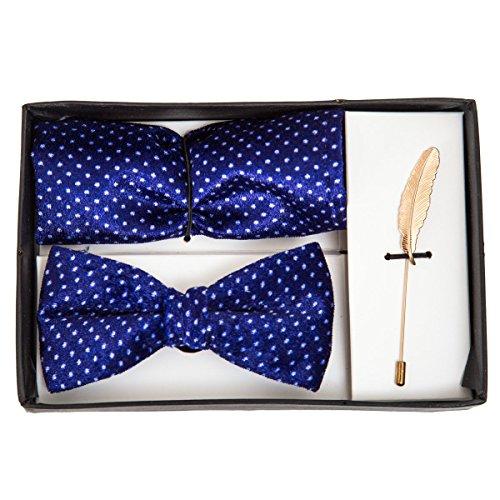 VIBHAVARI Men's Bow Tie, Pocket Square And Lapel Pin Set Free Size Blue by VIBHAVARI