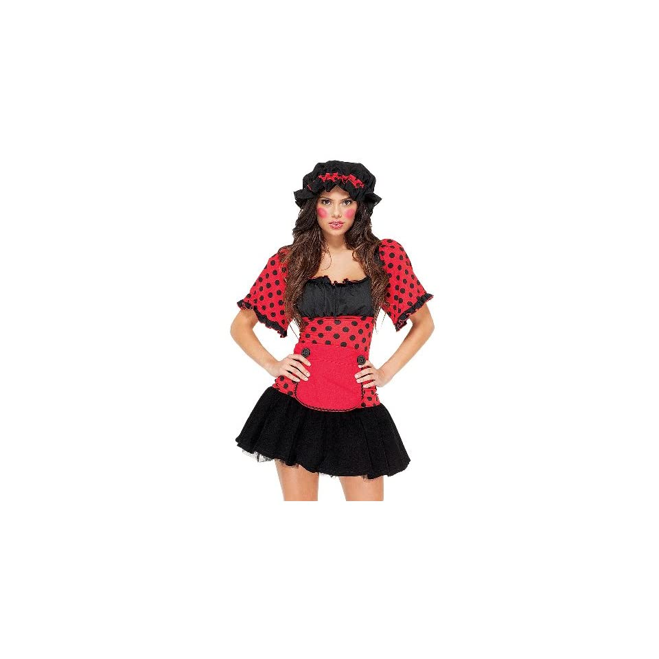 Fun&Funky Fashion Womens Rag Doll Dress Wig Bonnet Apron Costume   Red   X Small/Small
