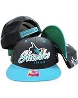 San Jose Sharks Black Two Tone Plastic Snapback Adjustable Plastic Snap Back Hat / Cap
