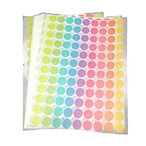 12 mm Mixed 9 Pastel Colour Round Circle Label Stickers 1080 Pcs for Multipurposes DIY